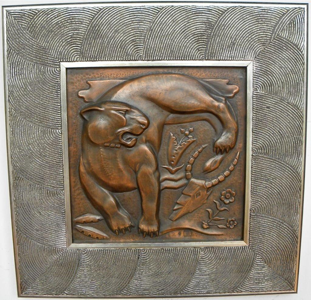 1930s belgian art deco copper wall plaque quintet maredsous image 8. Black Bedroom Furniture Sets. Home Design Ideas