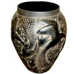 Monumental French Glass Vase by D'Avesn with Birds
