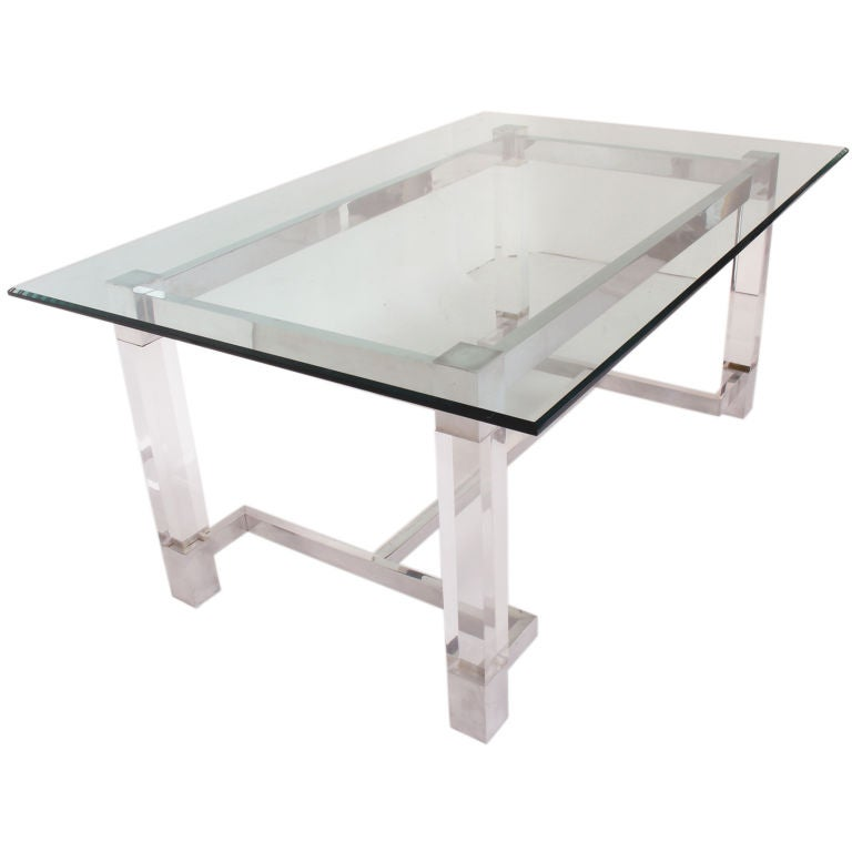 Lucite And Polished Aluminum Dining Table Or Desk Circa S - Aluminum dining table