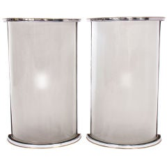 Pair of Large Scale Sconces in Frosted Glass with Chrome & Brass