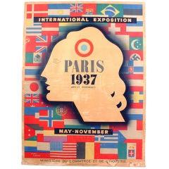 Large Scale Vintage Poster - Paris 1937 - by Jean Carlu