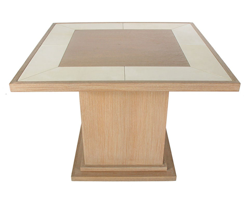Limed oak and inlaid leather game table or dining table at 1stdibs - Limed oak dining tables ...