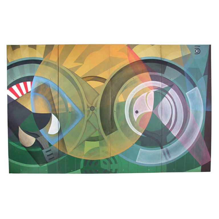 Huge Machine Age Abstract Mural Painting Or Screen For Sale At 1stdibs