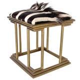 Modernist Brass and Zebra Hide Stool - circa 1970's