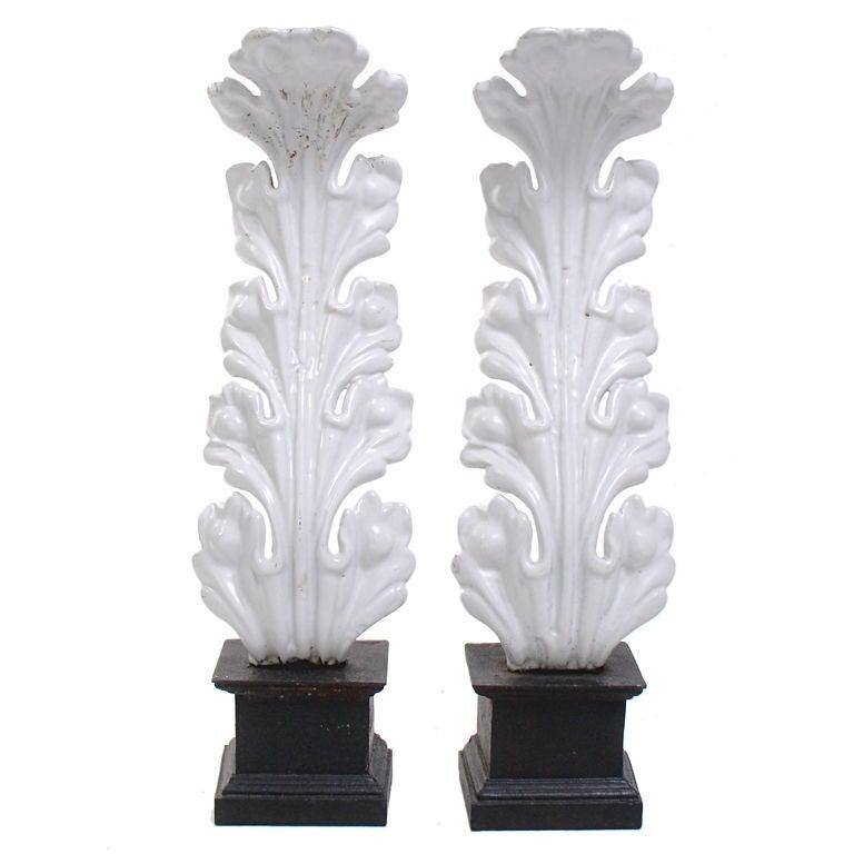 White Foliate Form Andirons - circa 1940's