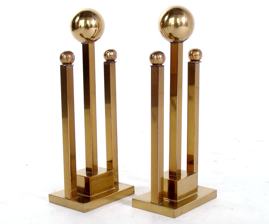 American Sleek Brass Ball Andirons - circa 1950's