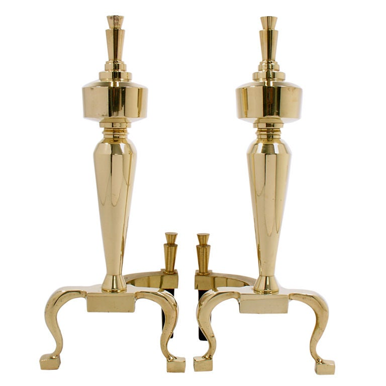 Brass Machine Age Andirons - circa 1940's