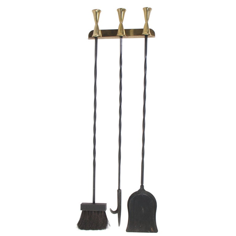 Modernist Brass And Iron Wall Mounted Fire Tools At 1stdibs