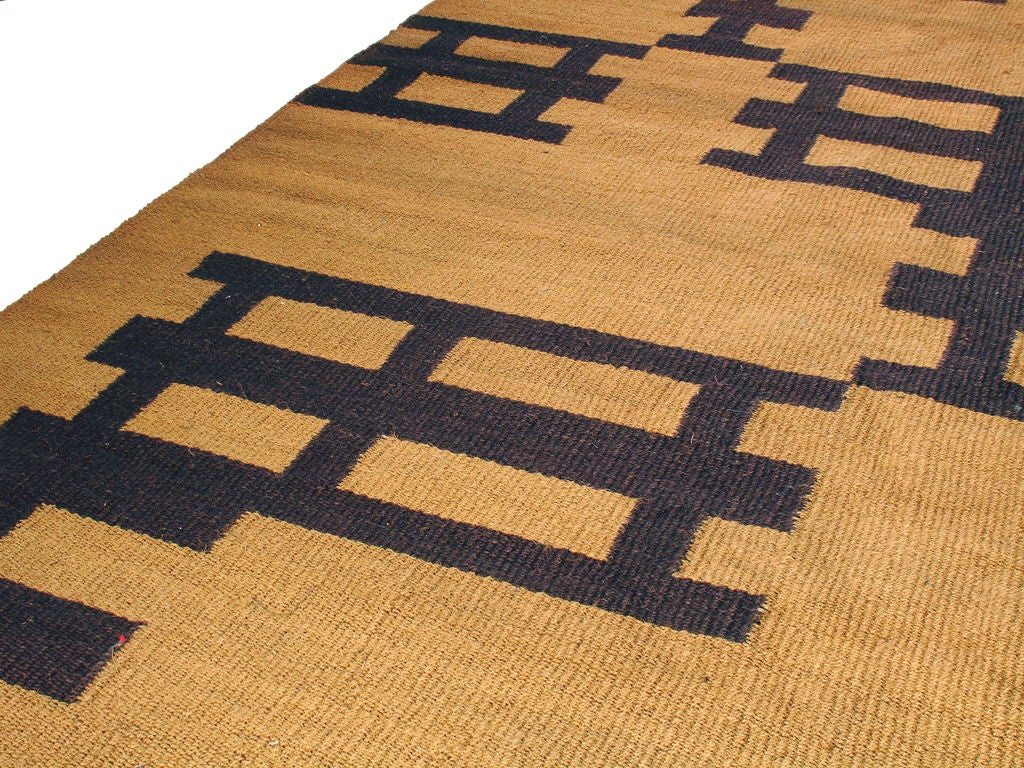 Large Jute Rug With Geometric Design At 1stdibs