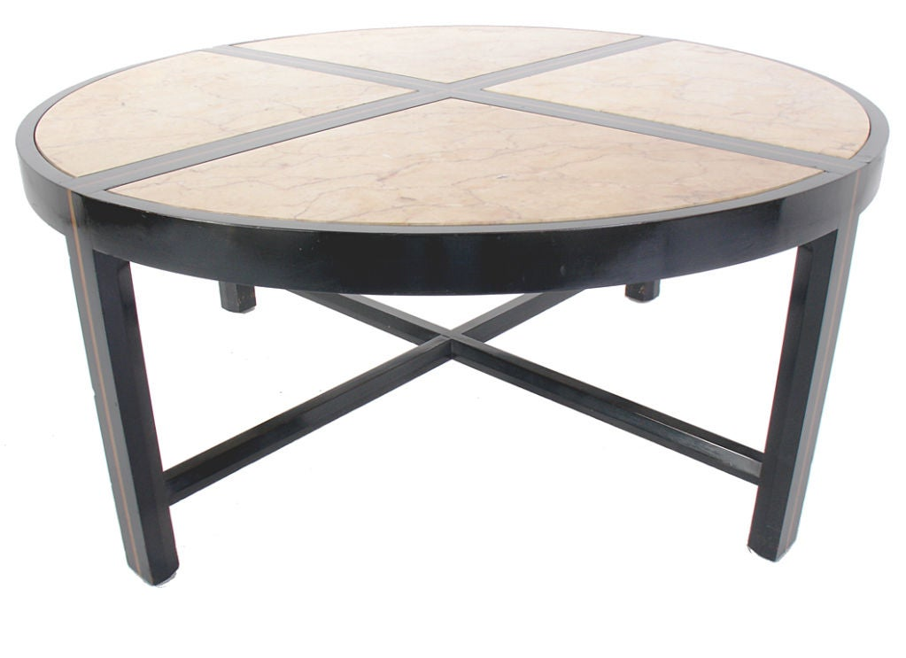 Tommi Parzinger Coffee Table In Black Lacquer And Marble At 1stdibs