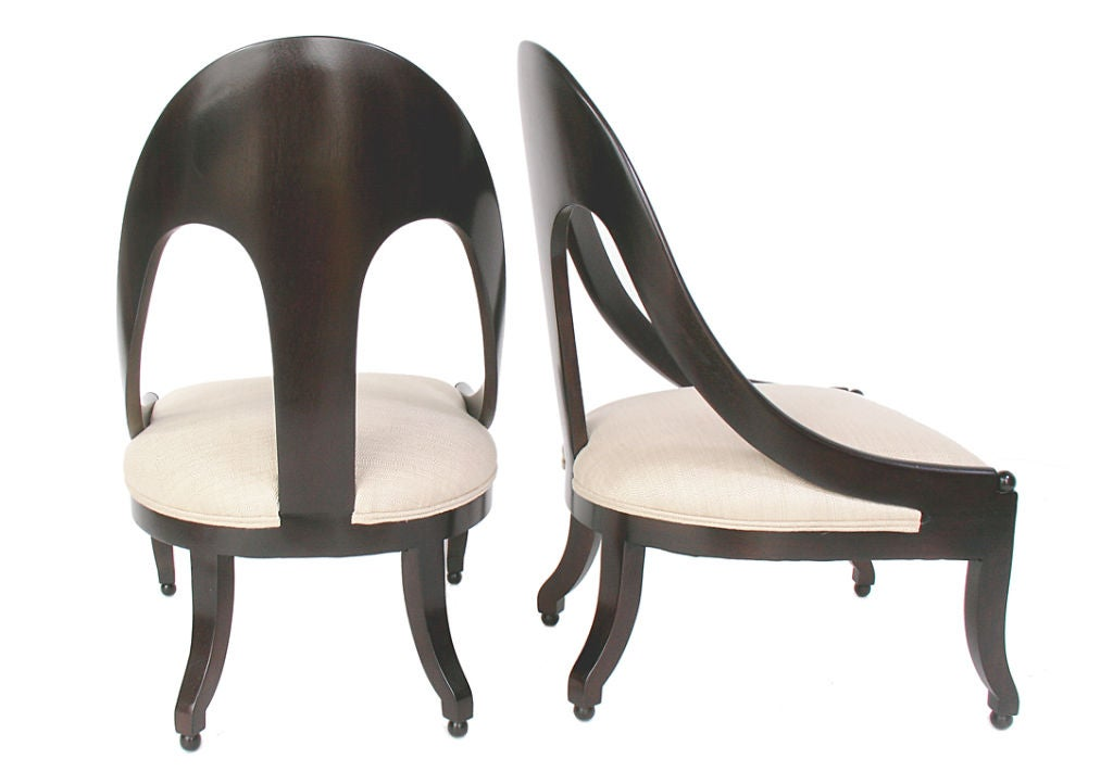 Mid-20th Century Sculptural Pair of Spoon Back Slipper Chairs circa 1950's For Sale