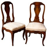 Remarkable  Pair of 18th Century French Canadian Side Chairs.