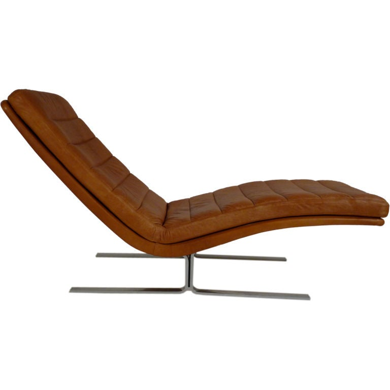 Brayton international leather chaise lounge at 1stdibs for Blue leather chaise