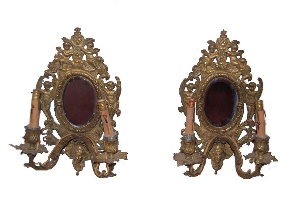 Pair Of Oval Beveled Mirror Sconces At 1stdibs