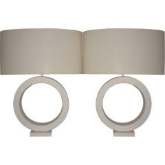 Architectural Pair of Biscuit Pottery Table Lamp
