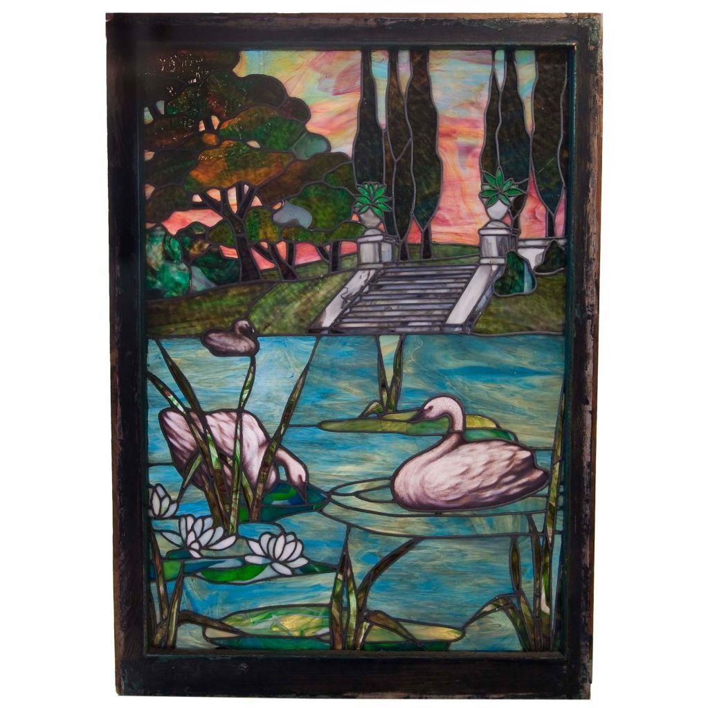 Art nouveau stained glass window at 1stdibs for Art glass windows