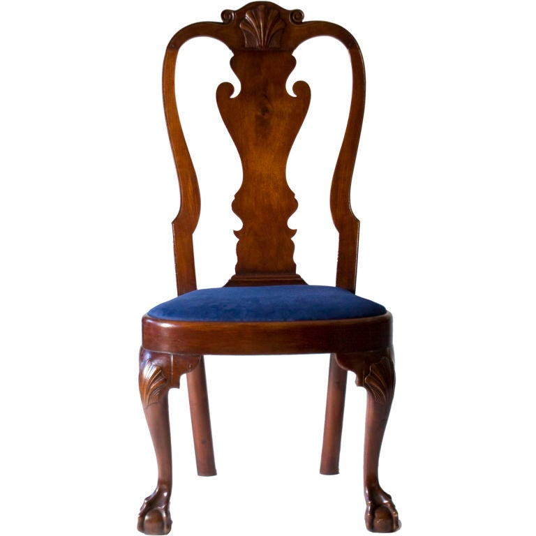 Walnut Queen Anne Balloon Seat Side Chair at 1stdibs