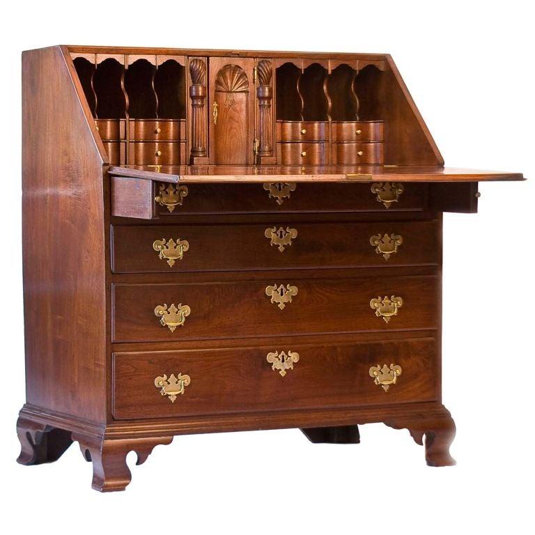 Walnut Chippendale Slant-Front Desk For Sale
