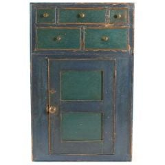 Blue and Green Pine Painted Hanging Cupboard