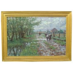 Oil on Canvas Landscape by Chalres Morris Young