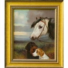 Oil on Canvas Portrait of Dogs & Horse