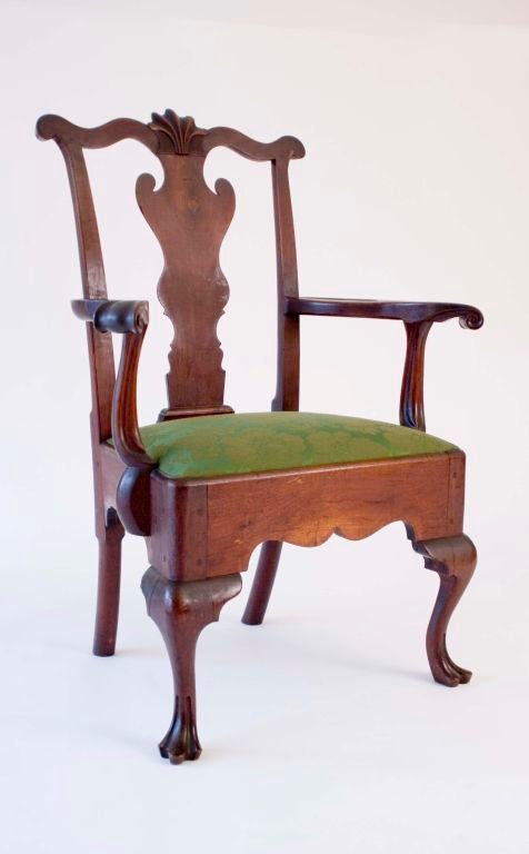 Walnut Queen Anne Armchair image 2