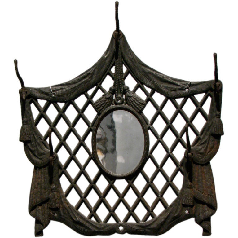 Victorian cast iron entryway mirror and coat hook at 1stdibs for Mirror mirror cast