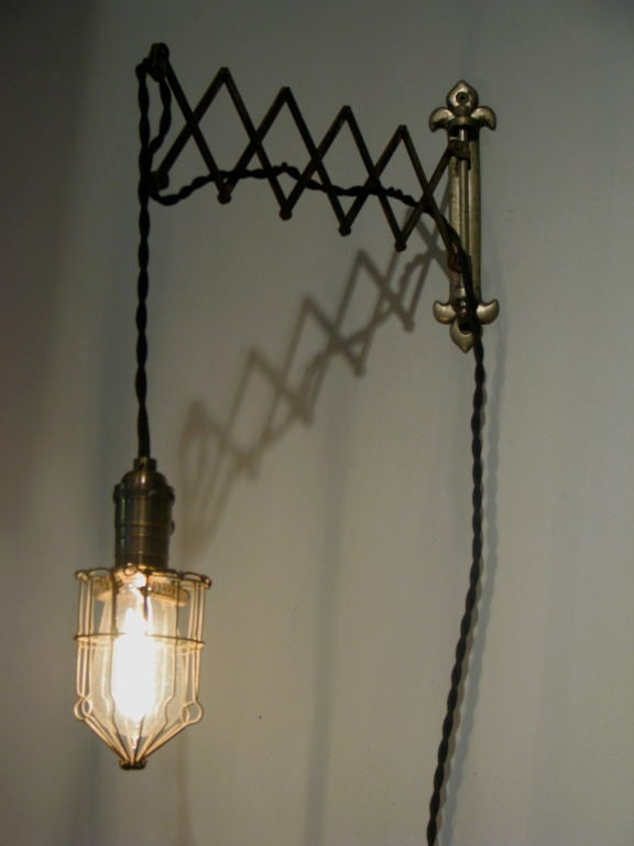 Scissor Arm Wall Mounted Caged Light at 1stdibs