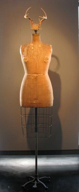 Mid-20th Century Full Figured Horned Linen Dress Form