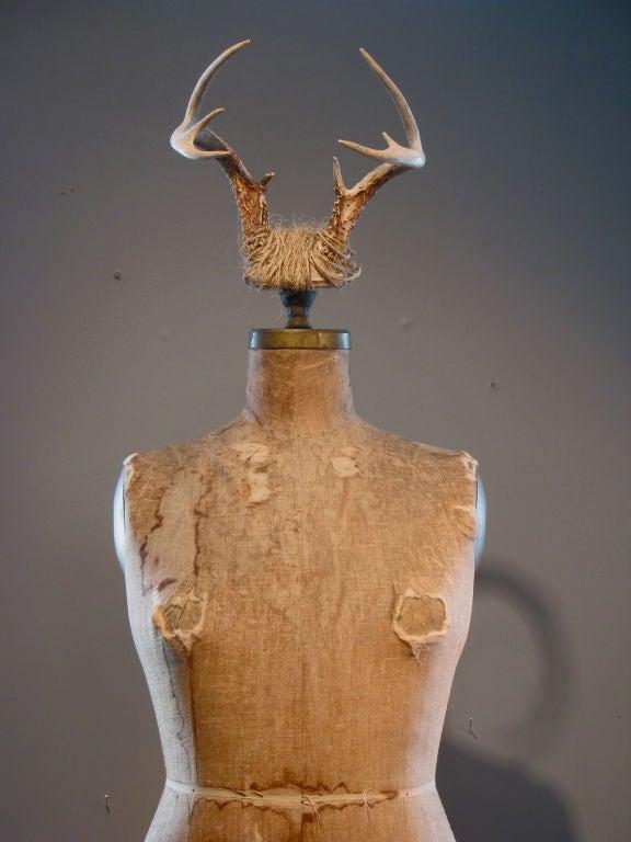 American Full Figured Horned Linen Dress Form