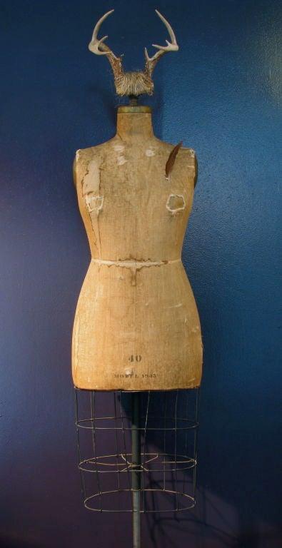 Brass Full Figured Horned Linen Dress Form