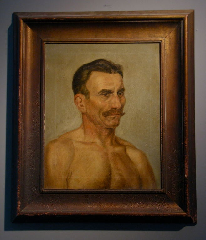 Oil on canvas portrait of a boxer<br /> A gentlemanly portrait of a truly tough man. Incredible presence, rich color and darkly romantic. Gilt frame is worn through in places revealing the dark wood mirroring the roughness of the subject.<br