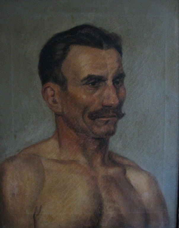 Mid-20th Century Oil Portrait of a Boxer