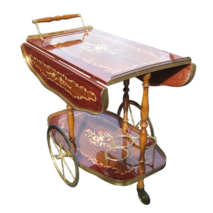 Rolling Italian Drop Leaf Bar Serving Cart