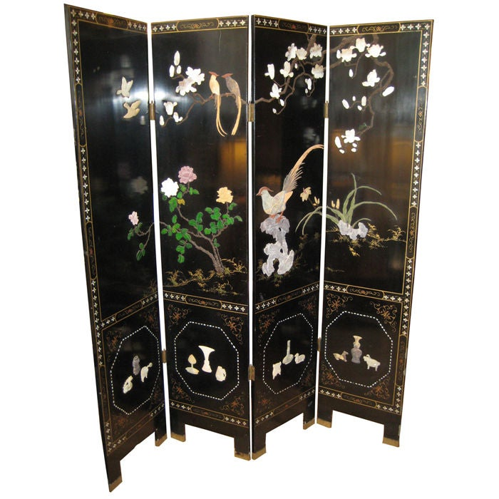 Dual Sided 4 Panel Asian Screen Japanese Room Divider at 1stdibs