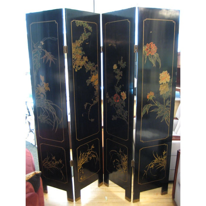dual sided 4 panel asian screen  japanese room divider at