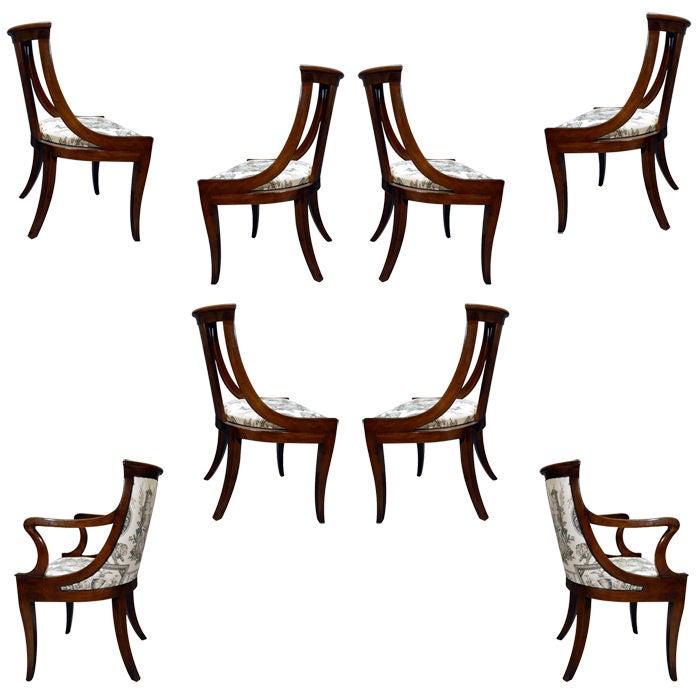 Vintage Set Of 8 Baker Attributed Klismos Chairs At 1stdibs