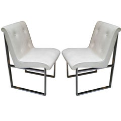 Single, Set of Two or Three Chairs in the Manner of Milo Baughman