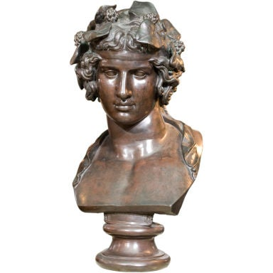 Patinated Bronze Bust of Antinous in the guise of Dionysus ...
