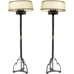 Pair of Wrought Iron Gothic Revival Lamps