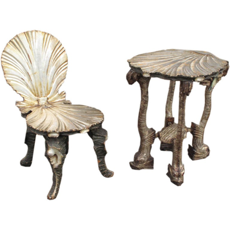 Superieur Venetian Grotto Chair And Table Set For Sale
