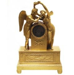 Empire Period Gilt Bronze Clock