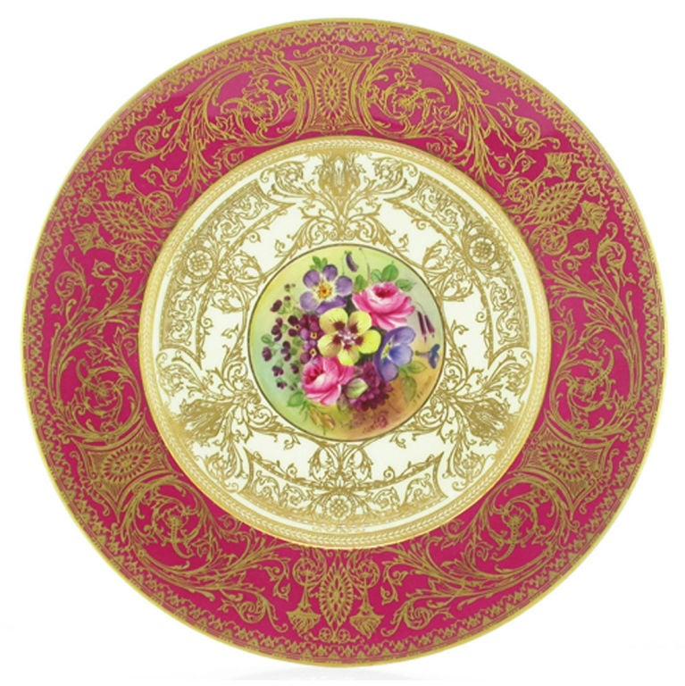 12 Royal Worcester Porcelain Floral Service Plates at 1stdibs