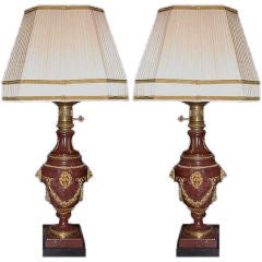 Pair of Red Marble and Gilt Bronze Lamps
