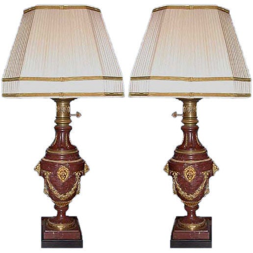 pair of red marble and gilt bronze lamps for sale at 1stdibs. Black Bedroom Furniture Sets. Home Design Ideas