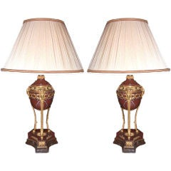 Pair of Red Marble Cassolette Lamps