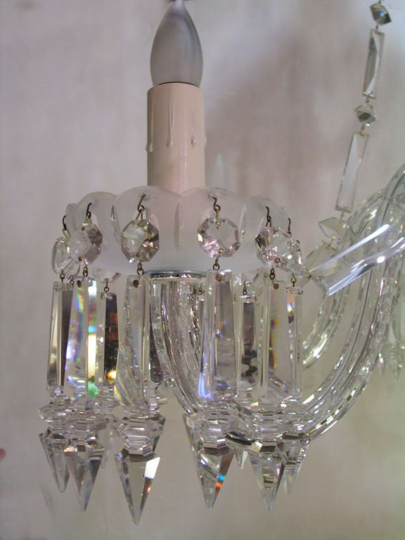 Victorian frosted and clear six light gasolier chandelier later converted to electricity. The frosted and & Victorian Crystal Six Arm Gasolier Chandelier at 1stdibs