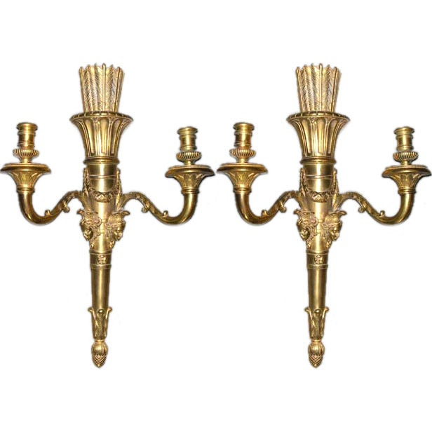 Bronze Wall Sconces For Candles : Pair of Louis XVI Style Gilt-Bronze Candle Wall Sconces at 1stdibs