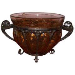 Daum Majorelle Amber Art Glass Footed Vase