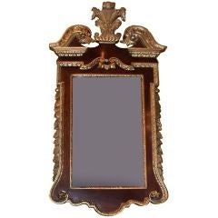 Georgian Style Mahogany and Carved Parcel Gilt Mirror